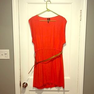 Coral dress with tan belt